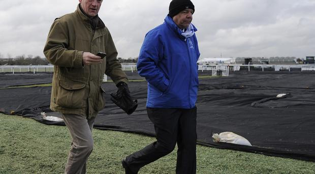 In a rare occasion, Willie Mullins (L) has a number of entries at Kempton and Warwick today