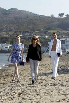 Fashion Designer Karen Millen pictured with Models Aoife Kavanagh (lt) and Michelle Ward (rt) at a photoshoot in Bray in recent years.