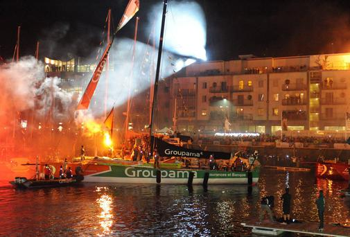 The scene at Galway Dock as the Groupama team arrive to win the 2011/12 Volvo Ocean Race