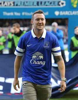 Everton's new signing Aiden McGeady is unveiled before the Barclays Premier League match at Goodison Park