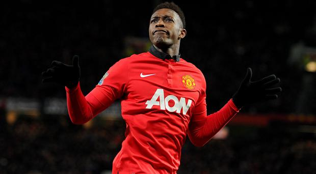 Manchester United's Danny Welbeck celebrates after scoring his team's second goal of the game during the Barclays Premier League match at Old Trafford