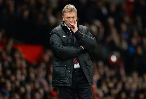 David Moyes looks on during a match between Manchester United and Swansea City
