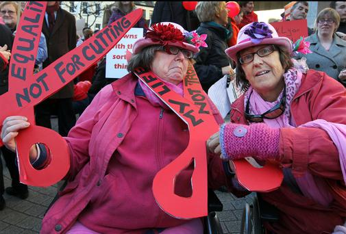 People with disabilities and their families protesting during a National Disability Rights Protest which marched from the Central Bank to Dail Eireann. They included twins Ann and Margaret Kennedy from Wicklow.