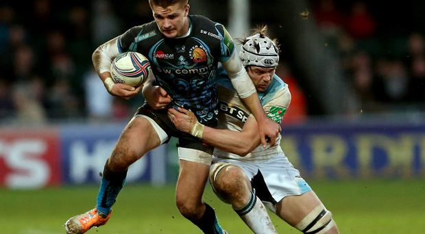 Henry Slade of Exeter in action against Glasgow Warriors