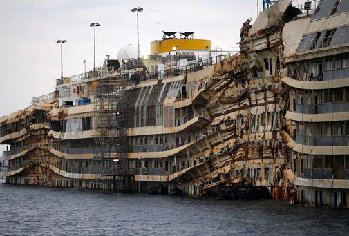 The cruise liner Costa Concordia is seen during the