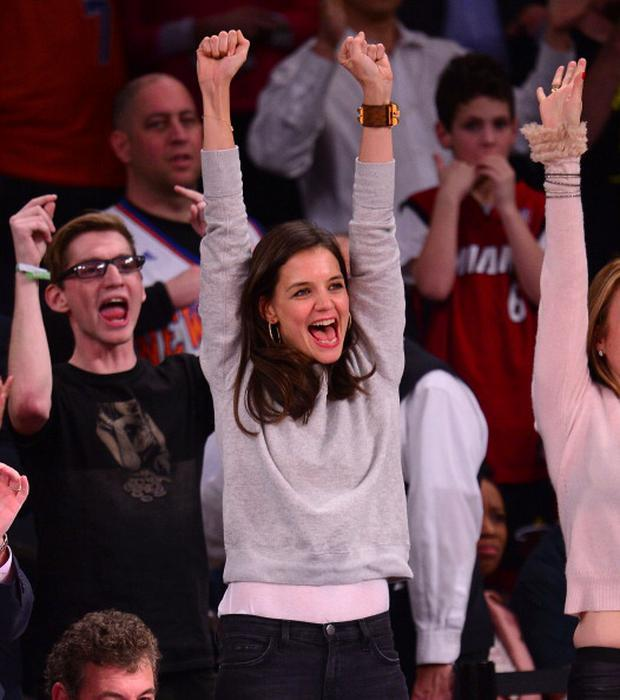 Katie Holmes attends the Miami Heat vs New York Knicks game at Madison Square Garden on January 9, 2014 in New York City. (Photo by James Devaney/FilmMagic)