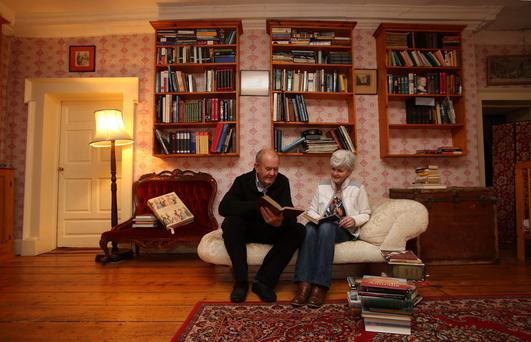Frank Kennan and his wife Rosemary at their home, Roundwood House, Mountrath, Co. Laois, who are set this week to open one of Ireland's most unusual libraries - with the world being asked to decide what should be in its collection