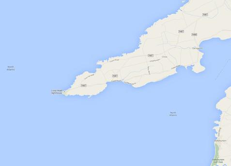 The tanker is currently drifting approximately 100 miles west of Loop Head, Co. Clare. Photo: Google Maps