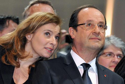 French President Francois Hollande and his companion Valerie Trierweiler
