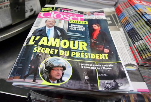 The French magazine Closer with photos of French President Francois Hollande and French actress Julie Gayet on its front page