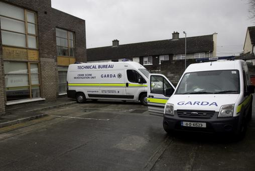 Gardai at Spring Mount Apartments, Wellmount Road, Finglas where a body was discovered Photo: Gareth Chaney Collins