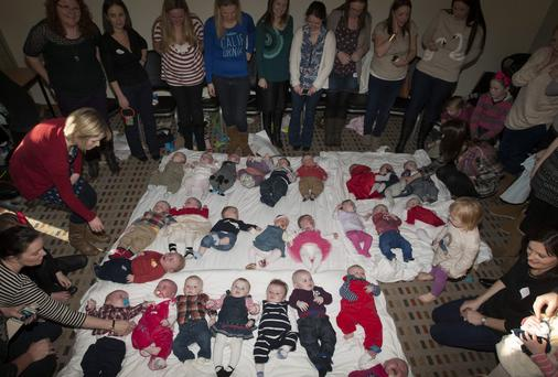 Some of the mums who were brought together via an online pregnancy forum with their babies at an event in Portlaoise
