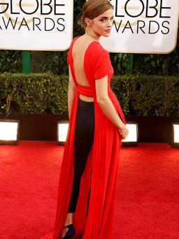 Actress Emma Watson arrives at the 71st annual Golden Globe Awards in Beverly Hills, California January 12, 2014. REUTERS/Mario Anzuoni