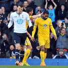 Crystal Palace's Jason Puncheon is consoled by Joel Ward after missing his awful penalty miss at White Hart Lane