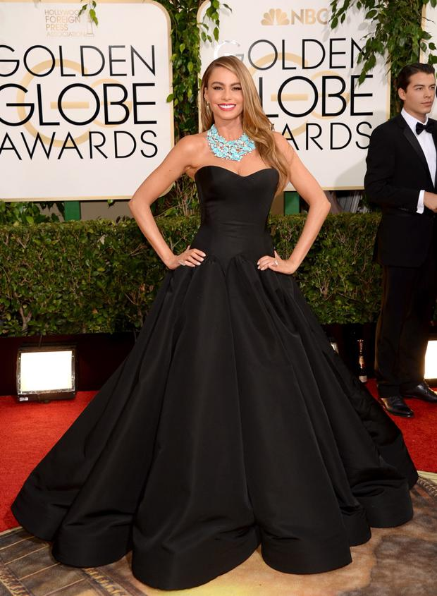 Style hit: It's a thumbs-up for Sofia Vergara in this dramatic Zac Posen creation. (Photo by Jason Merritt/Getty Images)