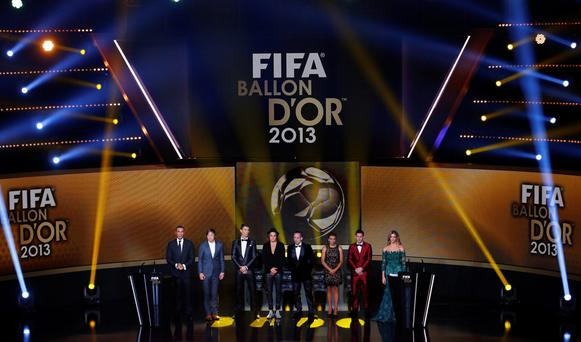 The nominees for the Women's and Men's World Soccer Player of the Year 2013 Award stand on stage at the FIFA Ballon d'Or ceremony in Zurich January 13, 2014. REUTERS/Arnd Wiegmann (SWITZERLAND - Tags: SPORT SOCCER)