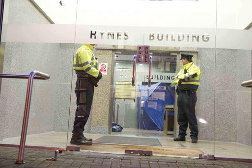Gardai at the scene of a tragic accident involving a lift in Hynes Building in Galway City that houses RTE regional studio resulted in the death of a three year old child of African decent