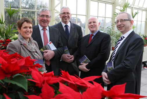 Pictured at the launch of the Irish Timber Growers Association (ITGA) 2014 Yearbook are, left to right, Mechteld Schuller, ITGA Secretariat; Minister Tom Hayes; Donal Whelan, ITGA Technical Director; Donal Magner, Magner Communications and Brendan Lacey, ITGA Chairman