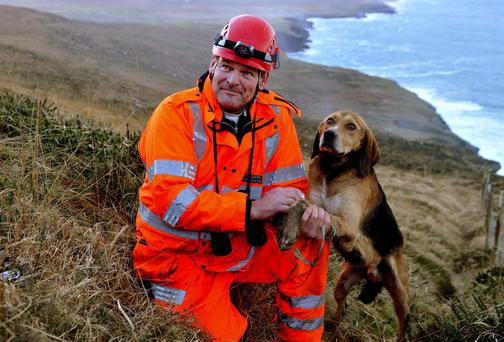 Pat O'Driscoll of Valentia Coastguard pictured moments after he rescued Shandon. Photo: Don MacMonagle