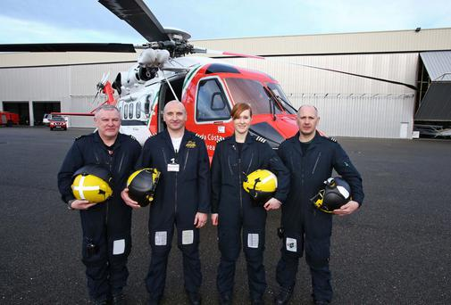 The crew of the new Coast Guard Sikorsky S92 helicopter for the East Coast region at the launch of the new helicopter at Weston Airport.The crew are from left, Winch Operator, Paul Ormsby, Capt. Ed Sullivan, Capt. Dara Fitzpatrick and Winchman Dermot Molloy. Photo: Colin Keegan, Collins Dublin.
