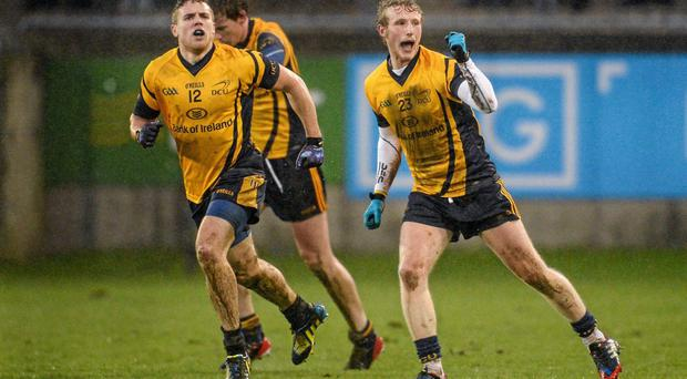 Gary Kelly celebrates after team-mate David Byrne scored their side's winning point