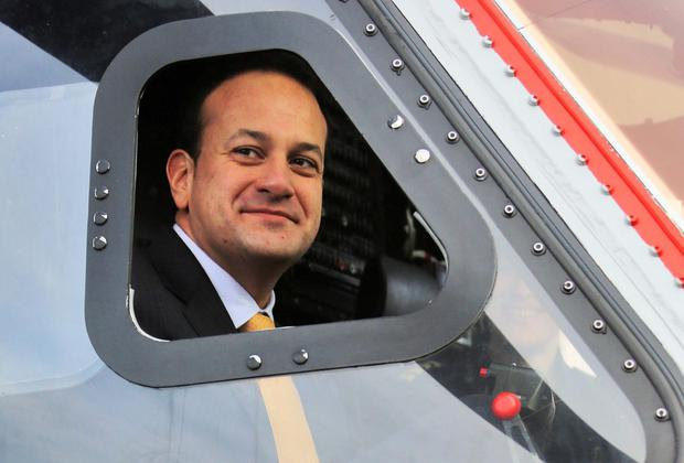 Minister for Transport Tourism and Sport, Leo Varadkar pictured at the launch of the new Coast Guard Sikorsky S92 helicopter yesterday.