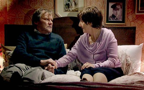 Coronation Street's Julie Hesmondhalgh (Hayley Cropper) with David Neilson who plays her on-screen husband Roy
