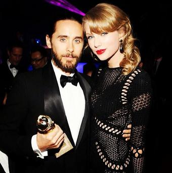 oth Jared, 42, and 24-year-old Taylor attended the InStyle Golden Globes after-party, with Jared so pleased to see the country musician there he posted a picture of them posing, with his award, on Instagram. (Instagram/Jared Leto)