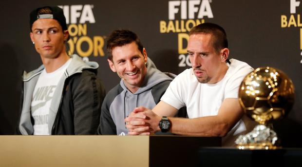 Real Madrid's Christiano Ronaldo of Portugal, FC Barcelona's Lionel Messi of Argentina, and Bayern Munich's Franck Ribery of France, from left, the three nominees for world soccer player of the year