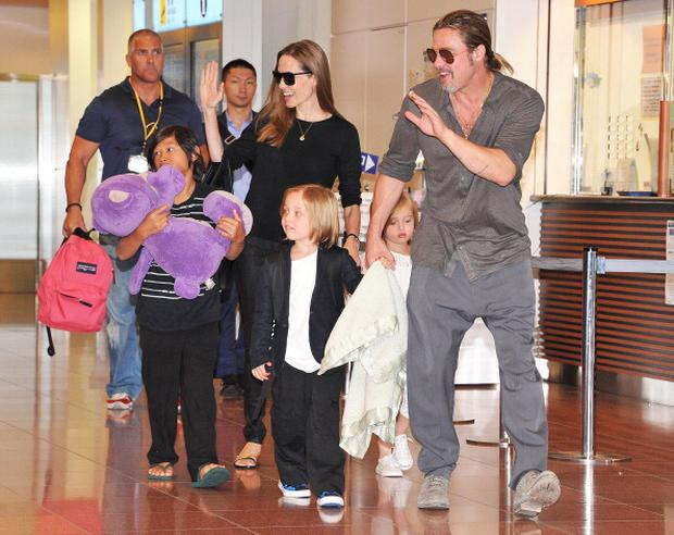 Brad Pitt, Angelina Jolie and their children Pax, Knox and Vivienne