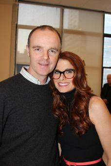 NEW YORK, NY - DECEMBER 03: Brian F. O'Byrne and Debra Messing pose at the 'Outside Mullingar' cast photo call at Manhattan Theatre Club Rehearsal Studios on December 3, 2013 in New York City. (Photo by Bruce Glikas/FilmMagic)