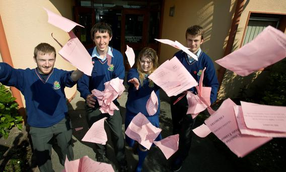 Students at the end of their Leaving Cert last year