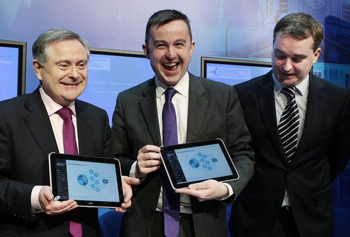 Brendan Howlin,TD,the Minister for Public Expenditure and Reform and Brian Hayes,TD,the Minister of State for Public Service Reform and and Robert Watt,Secretary General,Departmet of Public Expenditure.