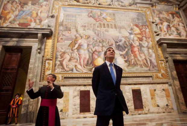 U.S. Secretary of State John Kerry was in the Vatican to meet Secretary of State of the Holy See Pietro Parolin for talks on Tuesday on the Middle East