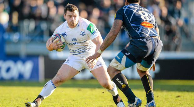 12 January 2014; Cian Healy, Leinster, in action against Karena Wihongi, Castres. Heineken Cup 2013/14, Pool 1, Round 5, Castres v Leinster. Stade Pierre Antoine, Castres, France. Picture credit: Stephen McCarthy / SPORTSFILE