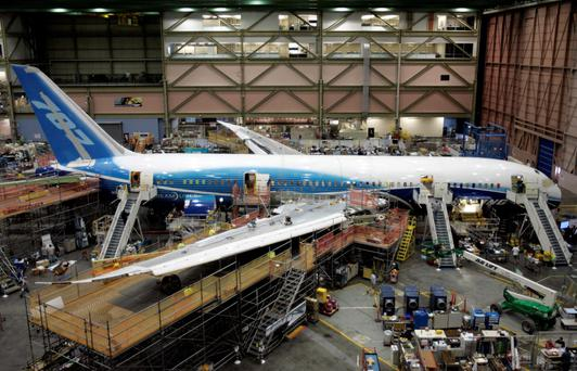 The first Boeing 787 Dreamliner sits on the assembly line at the company's Everett, Washington plant