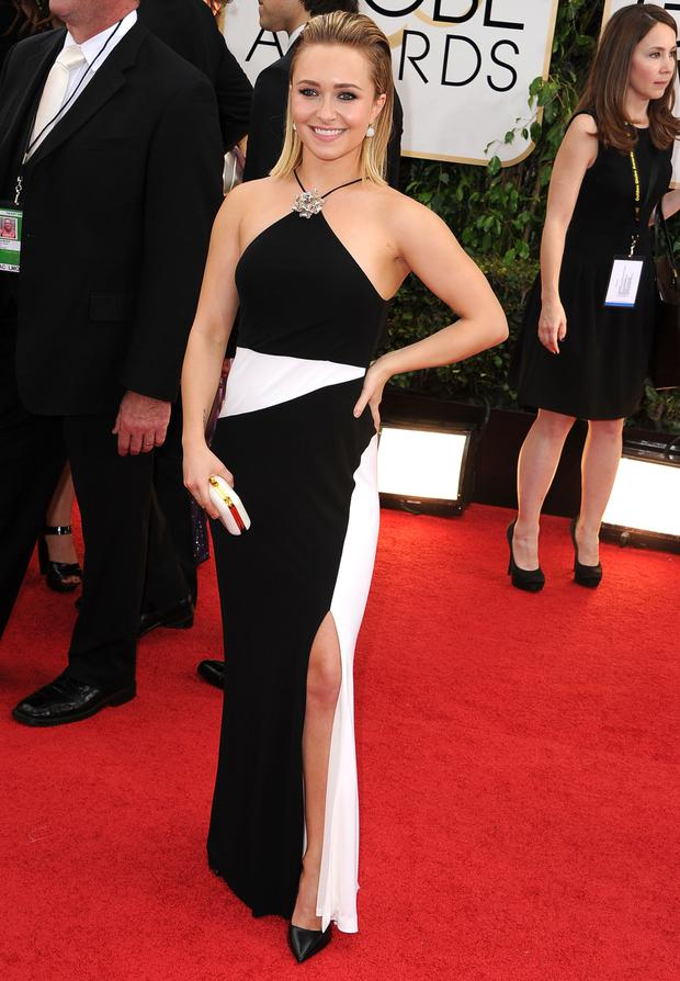 Hayden Panettiere arrives at the 71st Annual Golden Globe Awards