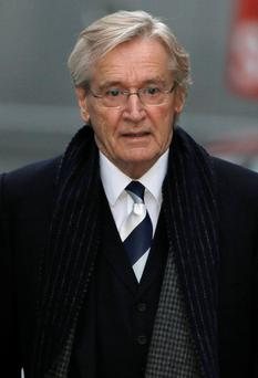 British actor William Roache, who plays the character of Ken Barlow in the soap opera Coronation Street, arrives at Preston Crown Court in Preston, northern England
