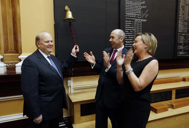 Hibernia REIT CEO Kevin Nowlan (centre), who oversaw the company's purchase of the Gateway site at Newland's Cross, with finance minister Michael Noonan and Irish Stock Exchange chief Deirdre Somers on the day Hibernia REIT listed on the Irish Stock Exchange in December.