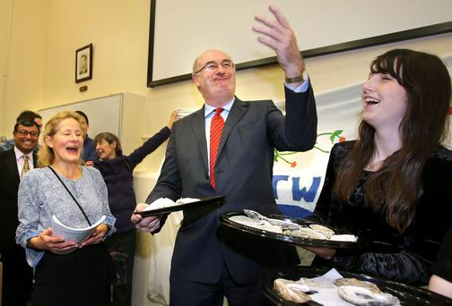 Minister for the Enviroment Phil Hogan pictured with Karin Dubskyand Grainne Blumenthal at the launch of the Cosatwatch Autumn 2013 survey results.