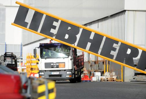 A truck leaving the Liebherr Container Cranes factory in Killarney