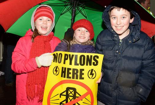 A protest at the Eirgrid information office in Ballaghaderreen, Co Roscommon last night.