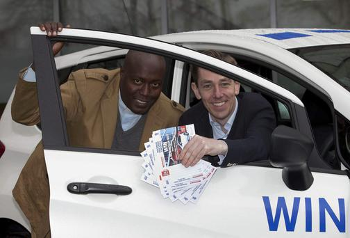 Ryan Tubridy launched the fundraising Car Raffle, with the principal of the new Kenyan school Fr John Wamburun