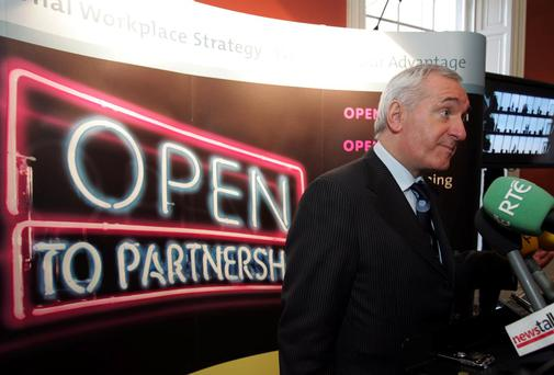 Partnership: Bertie Ahern pictured speaking to the media in 2007