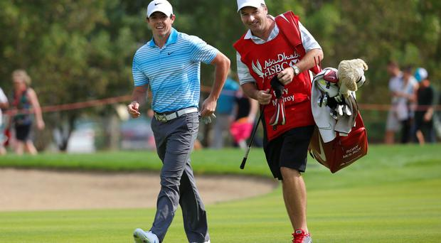 Rory McIlroy of Northern Ireland walks on the eighth hole during the Abu Dhabi Golf championship