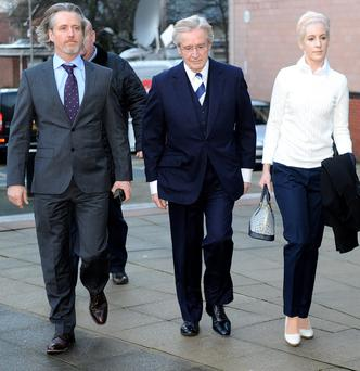 Coronation street star William Roache arrives at Preston Crown court with son Linus and daughter Verity,