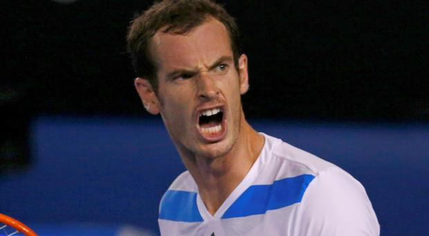 Andy Murray reacts during his men's singles match against Vincent Millot