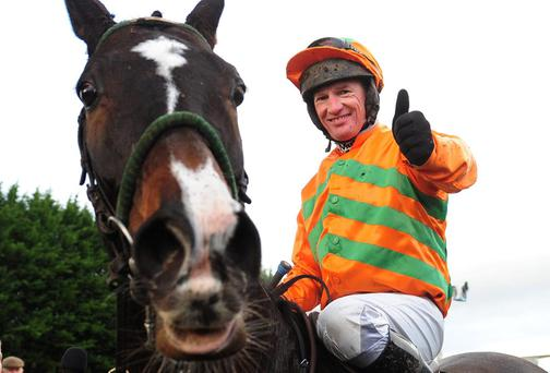Paul Carberry gives the thumbs up after partnering Texas Jack to a thrilling victory