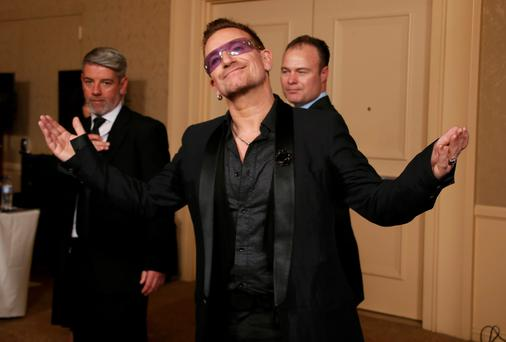 Bono backstage at the Golden Globes earlier this week.