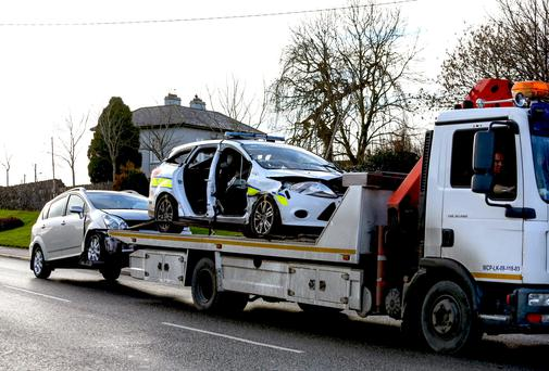 The patrol car from Bruff garda station, which was involved in a collision at Kilmallock, Co Limerick. Photo: Keith Wiseman